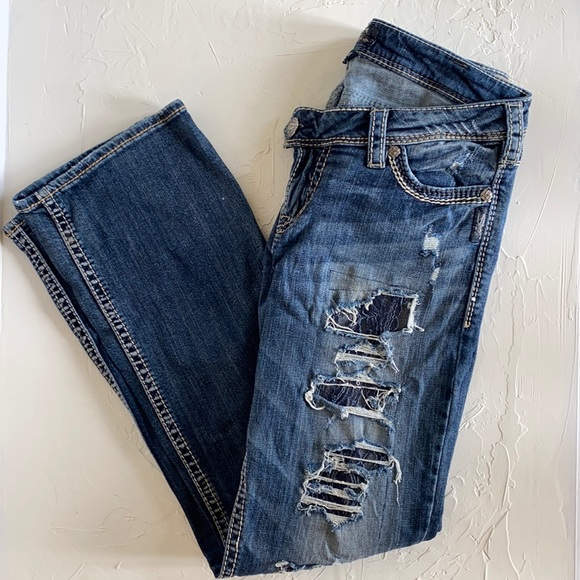 Silver Tuesday Low Slim Bootcut Extra Distresses Jeans